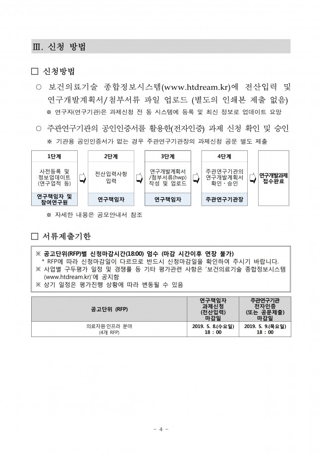 p867_붙임1. 2019년도 제2차 보건의료기술연구개발사업(의료자원·인프라 분야) 신규지원 대상과제 통합공고문.pdf_page_4.jpg